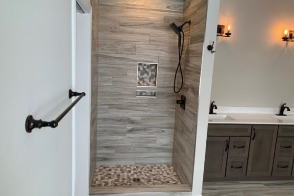 Custom Tiled Shower wood look Saint John Indiana